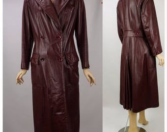 1980s Vintage Oxblood Leather Coat Aigner Full Length Double Breasted Sz 16 B36 W34