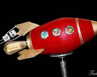 Rocket Lamp, Robot Light, Scifi Home Decor, Geekery Gift, Space Lamp, Steampunk Gift