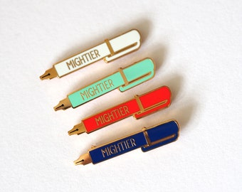 Mightier Pen Enamel Pin Badge, Pen is mightier than the sword, lapel Pin, Enamel Pins, Peace Pin, Writer Gift, RockCakes