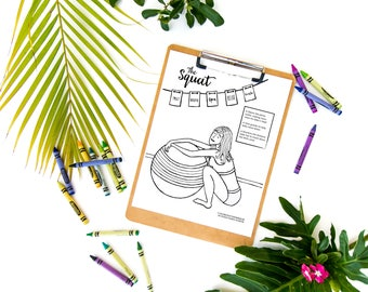 Squatting Mama Labor Position Coloring Page Digital Download