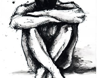 Nude male sketch - 8x12 Ink painting on canvas A4 - sitting nude man - ver 5