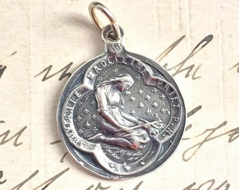 Sterling Silver Contemplative St Mary Magdalen Medal - Patron of repentant sinners - Antique Reproduction