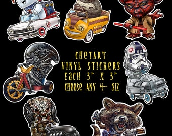 "ChetArt Vinyl Sticker Fun Pack- Choose 4 stickers- Each Measures 3"" x 3"""