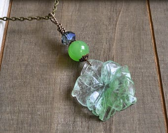 Gemstone Flower Pendant Natural Fluorite Carved Flower Necklace Aventurine Green Bead & Crystal Hand Wrapped
