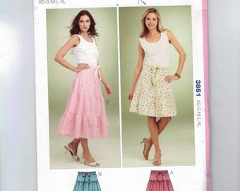 Misses Sewing Pattern Kwik Sew 3851 Pull On Drawstring Waist Tiered Skirt Knee Length Long Peasant Size XS S M L XL UNCUT