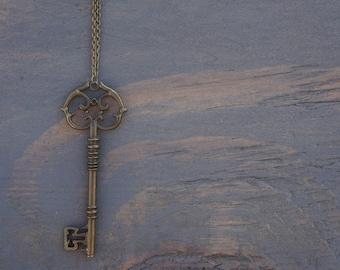 Artefacet's Handmade Antiqued Brass Key Long Necklace