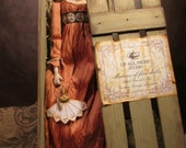 OOAK 18 Inch Regency Style Doll in Silk Gown and Antiqued Display Crate