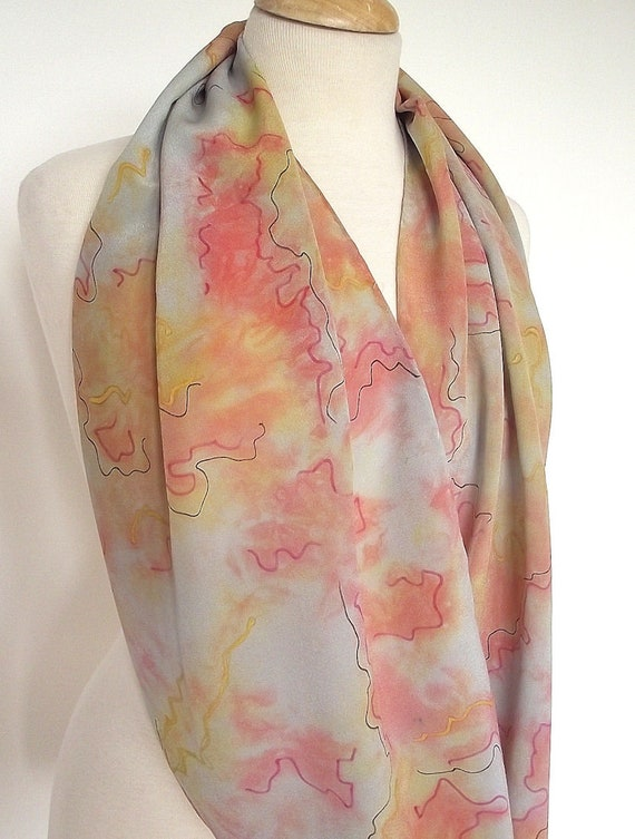 """Hand Dyed Silk Infinity Scarf - 15 x 60"""", Grey, Gold and Rose with Black Graphic Lines, Luxurious Silk Crepe"""