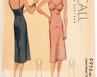 "Vintage Sewing Pattern 1930's Fitted McCall 9956 38"" Bust - Free Pattern Grading E-book Included"
