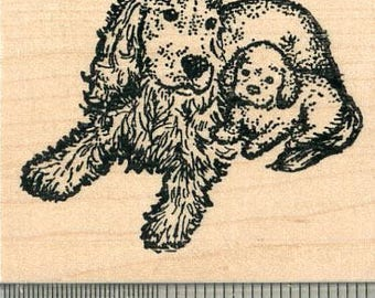Cocker Spaniel Rubber Stamp, Dog with Puppy J32615 Wood Mounted