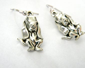 Basset Hound Dog Earrings Silver Color Dangle Earrings Beagle Earrings