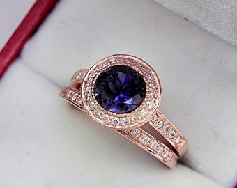 AAAA Iolite 7.0mm  1.06 Carats   14K Rose gold bridal set with .35cts of diamonds. 0505