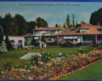 Butcharts Garden Residence Victoria BC British Columbia Canada Linen Postcard