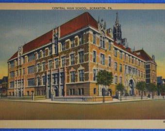 Central High School Scranton PA Pennsylvania Unused Linen Postcard