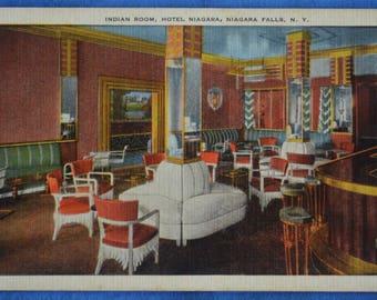 Indian Room Hotel Niagara Falls New York NY Linen Postcard
