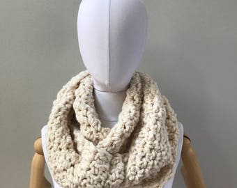 Chunky Infinity Scarf : Fisherman | wool blend | double loop | handmade | crochet | knit | fall