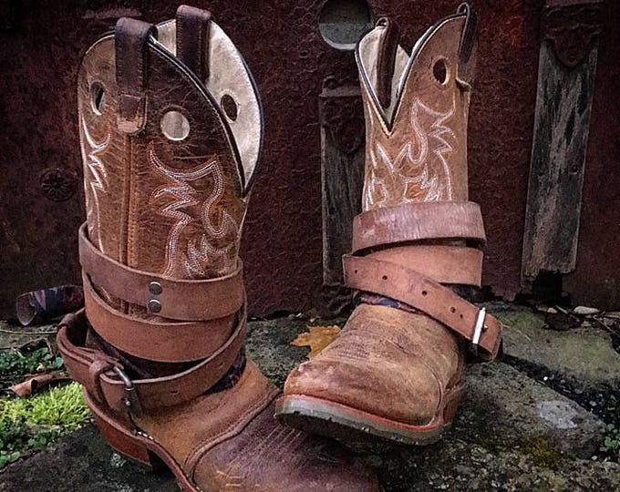 Upcycled Double-H Western Boots with Genuine Leather Adjustable & Removable Boot Straps and Bohemian Scarves, Women's Size 7 B(M) US