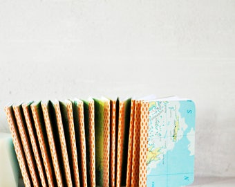 Custom {100} Mini Blank Books | Map Notebooks | Travel Theme Party | Wedding Party Favors | Engagement Favors