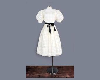 1950's Ivory Puff Sleeve Tea Length Dress - MED