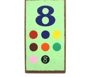 Vintage Number  8  Flashcard Wall Plaque in Mint Green with Coloured Dots