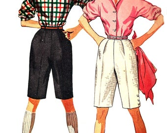 1950s Shorts Pattern Blouse Shirt Top Vintage Sewing Simplicity Women's Misses Junior's Size 15 Bust 33 Inches Waist 27 Inches