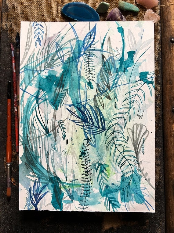 Original watercolor and ink painting on paper Nature In Blue No.4 artwork by Paula Mills