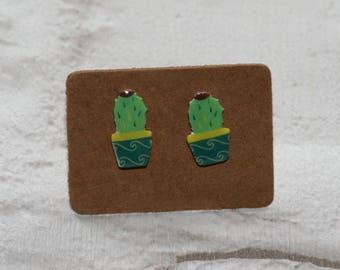 Cactus Earrings, Teeny Tiny Earrings, Plant Jewelry, Cute Earrings