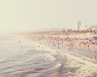 photography, beach photograph, Sunny California, crowded summer pastel blue west coast vacation Santa Monica seaside fine art print