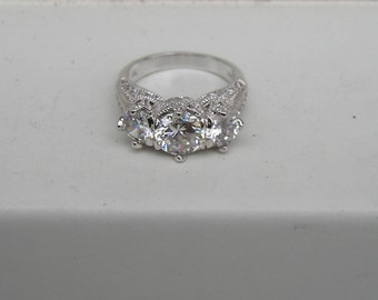 Beautiful Sterling Silver Ornate Cubic Zirconia Crystal Ring