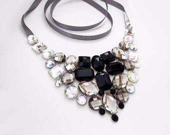 Black and White Bib Necklace, Rhinestone Bib Necklace, Black and Grey Rhinestone Statement Necklace, Jeweled Bib, Black and Gray Necklace