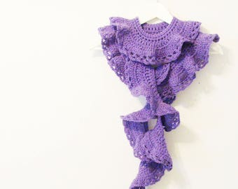 Lavender Scarf - Boa / Romantic Feminine Scarf / Pale Purple Scalloped Ruffles Crochet Fashion / OOAK Unique Gift Under 100 For Her