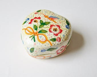 Painted Heart Shaped Trinket Box - Vintage Indian Papier Mache Box with Flowers and Butterfly