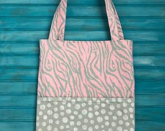 Crayon Tote Bag- Activity Tote Bag- Toddler Tote Bag- Pink Zebra