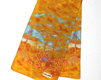 Vintage Nik Nik Long Scarf, Art Nouveau Inspired Landscape Print Scarf, Summer Polyester Scarf
