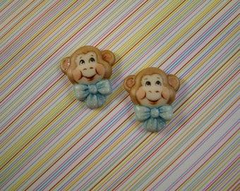 Blue Bow Chimp set of 2