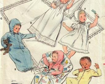 1980s Butterick 3317 Vintage Sewing Pattern Infant Layette, Newborn Wardrobe, Christening Dress, Bunting, Jumpsuit One Size