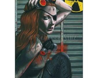 Fallout ACEO Print Post-Apocalyptic Post-Apocalyptic Apocalypse Fallout Shelter Nuclear War Gas Mask Portrait Acrylic Gouache fantasy art