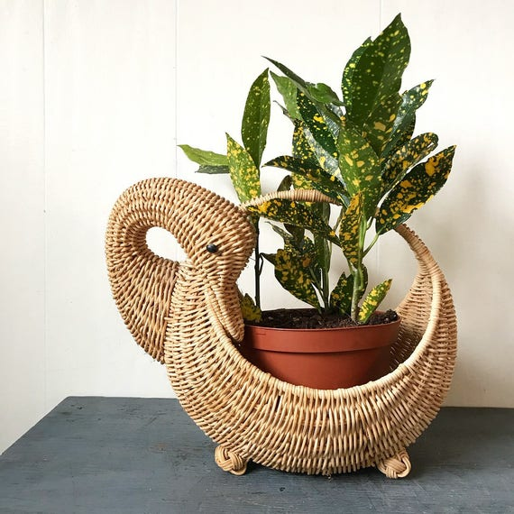 wicker swan basket - woven planter - boho duck bird - nursery shower new mom gift