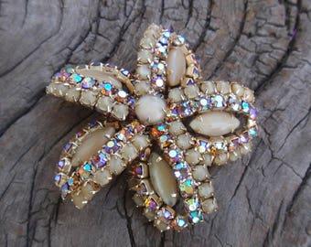 Vintage Signed Hobe Rhinestone Pin Brooch Aurora Borealis & Moonstones