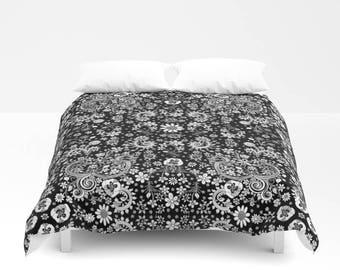 Duvet Cover Bedroom Set black white floral duvet, neutral duvet, funky home decor shabby chic duvet, folk duvet cover boho decor hippy duvet