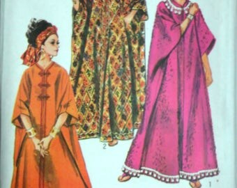 Vintage 60's Simplicity 8354 Sewing Pattern, Misses' Caftan Proportioned in Height, One Size, Uncut FF, Retro Boho 1960's Fashion