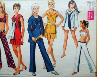 Vintage 70's Simplicity 8820 Sewing Pattern, Misses' Overblouse, Bra-Top, Mini-Skirt & Hip-Hugger Bell-Bottom Pants, Size 8, 31 1/2 Bust