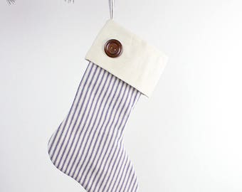 Blue Ticking Christmas Stocking with Button Detailing - Traditional Christmas Decoration - Modern Farmhouse Christmas Stocking