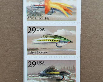 Five (5) vintage unused postage stamps - Fishing flies (lures) // 29 cent stamps // Face value 1.45