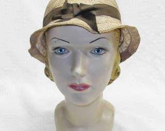 1930s Vintage NOS Straw Slouch Hat with Brown Ribbon Blue Eagle Label TLC
