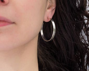 Sterling silver hoop earrings, wide, 40mm wavy, sparkly texture,