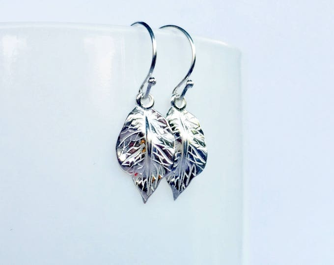 Featured listing image: Silver Leaf Earrings, Boho, Fall Jewelry, Sterling Silver Leaves, Dangle Earrings, Gifts for her, Nature jewelry, Trees Earrings