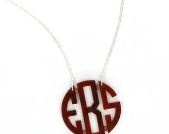 Heartstrings Medium Circle Monogram Acrylic Necklace