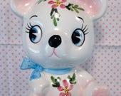 Vintage Japan Ceramic Bear White w Floral Big Eye Coin Bank