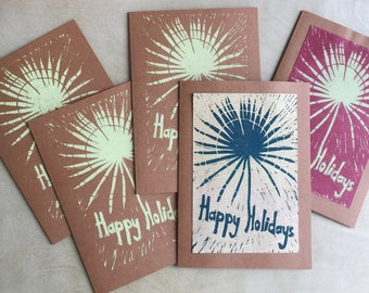 Holiday Card Sale, Five Christmas Cards, Handmade Holiday Cards, Tropical Holiday Cards, Rustic Kraft Cards,